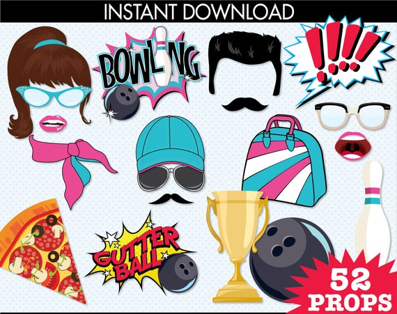 Bowling Photo Booth Props, Bowling Party, Bowling Birthday - Pink & Turquoise -  Instant Download PDF - 52 DIY Printable Props