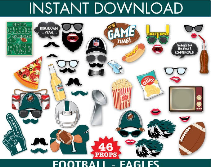 Eagles Football Photo Booth Props - Bowl Party- Football Party - Instant Download PDF - 46 DIY Printable Props