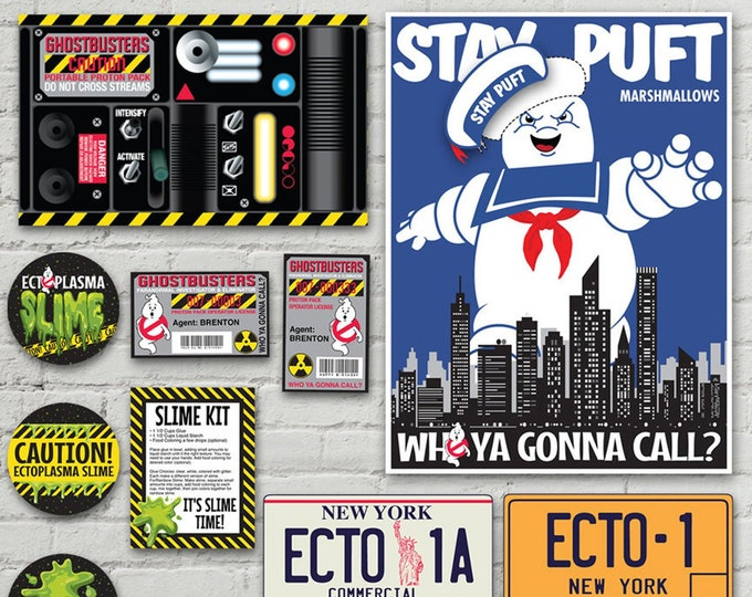 Ghost-busters Party Pack - Silly String Proton Pack Labels, ID Badges, Stay Puft Game, Slime Labels + MORE | INSTANT Download Printable PDFs