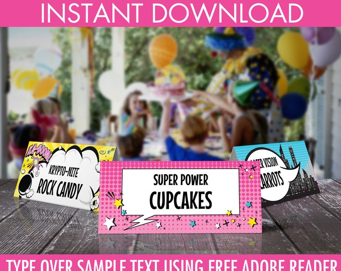 Supergirl Food Labels - Supergirl Party, Table Tent, Place Card, Buffet Tags, Superhero   Editable Text - DIY Instant Download PDF Printable