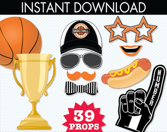 Basketball Photo Booth Props - Basketball Party, Sports Party - Basketball Baby Shower - Instant Download PDF - 46 DIY Printable Props