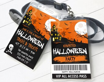 Halloween Party VIP Badge - Trick or Treat All Access Pass - Haunted Halloween ID Badge   Self-Edit with CORJL - Instant Download Printable