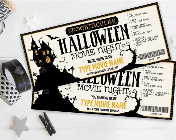 Halloween Movie Night Ticket, Gift Certificate, Movie Ticket, Surprise Ticket   Self-Edit with CORJL - INSTANT DOWNLOAD Printable