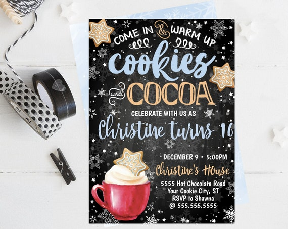Cookies & Cocoa Invitation, Hot Chocolate Party, Cookie Decorating,Snowflake Cookie Exchange | Self-Edit with CORJL - INSTANT DOWNLOAD