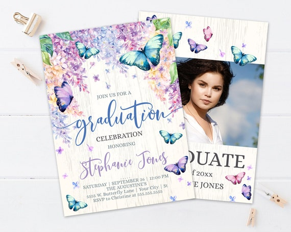 Butterfly Graduation Party Invitation - Graduation Invite, Graduate Party | Self-Edit with CORJL - INSTANT DOWNLOAD Printable Template