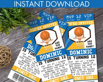 Basketball Ticket Invitation - Basketball Party, Basketball Birthday. Blue & Gold, Ticket Invite | DIY Instant Download PDF Printable