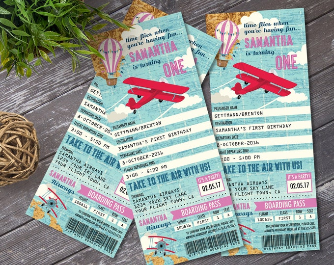 Airplane, Hot Air Balloon, Aviator Birthday TICKET Invitation,Map Airplane, Pink,1st Birthday | DIY Instant Download PDF Printable SEM102_26