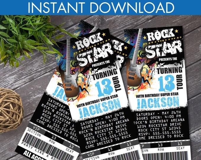 Rockstar Party Ticket Invitations - Party like a Rockstar- Rock n Roll Birthday | Editable Text - Instant Download DIY Printable PDF Kit