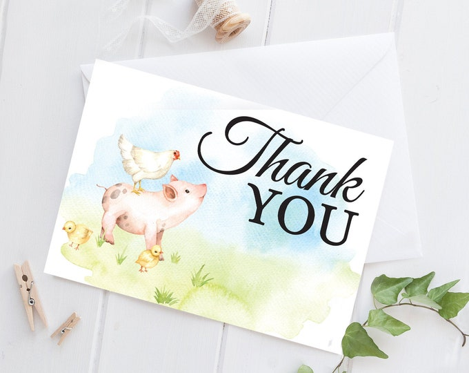 Farm Animal Baby Shower Thank You Note Cards - Farm Baby Shower,Farm Animals,Barnyard Shower | DIY Pre-Typed Card INSTANT DOWNLOAD Printable