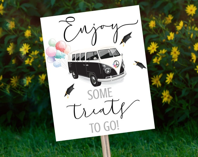 Drive By Graduation Treats Sign - Drive By Parade,Quarantine,Social Distancing | Self-Edit with CORJL - INSTANT DOWNLOAD Printable