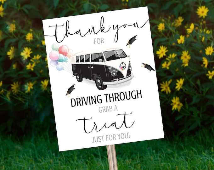 Graduation Drive Through Treats Sign - Drive By Parade,Quarantine,Social Distancing | Self-Edit with CORJL - INSTANT DOWNLOAD Printable