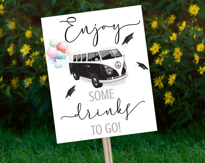 Drive By Graduation Refreshment Sign - Drive By Parade,Quarantine,Social Distancing | Self-Edit with CORJL - INSTANT DOWNLOAD Printable