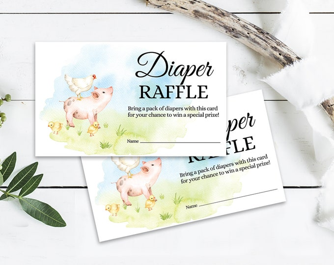 Diaper Raffle Farm Animal Baby Shower Insert, Farm Shower, Baby Farm Animal Shower | Self-Editing with CORJL - INSTANT DOWNLOAD Printable