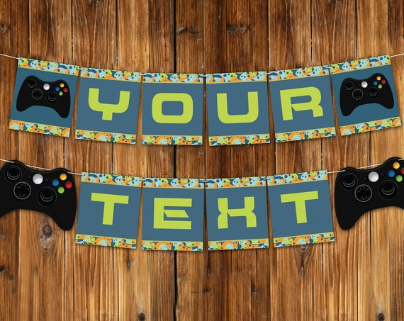 Video Game Party Banner - Gamer Birthday Party, Video Game Decorations, Blue Camo   Self-Editing with CORJL - INSTANT DOWNLOAD Printable