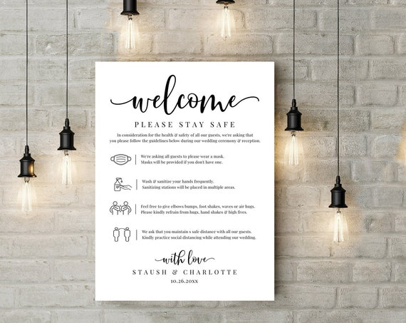 Wedding Social Distancing Poster/Sign, Covid Guidelines,Editable Wedding Safety Sign | Edit Yourself with CORJL - INSTANT DOWNLOAD Printable