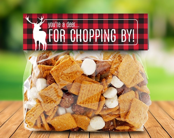 """Lumberjack Party Favor Bag Topper - S'more Treat Favor Topper, 6.5"""" Baggie Topper, S'more    Editable Text - INSTANT Download Printable PDFs"""