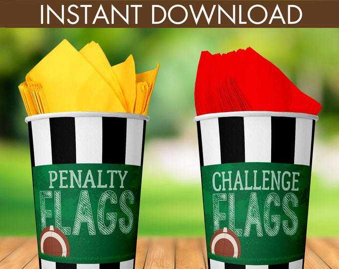 """Football - Penalty & Challenge Flags 5"""" x 7"""" Signs - Football Party, Bowl Party, Football Decor   INSTANT Download PDF Printable Sign Set"""