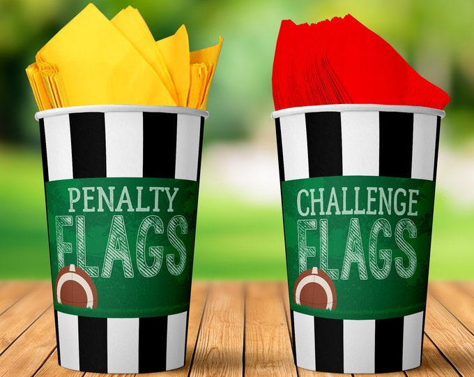 "Football - Penalty & Challenge Flags 5"" x 7"" Signs - Football Party, Bowl Party, Football Decor 