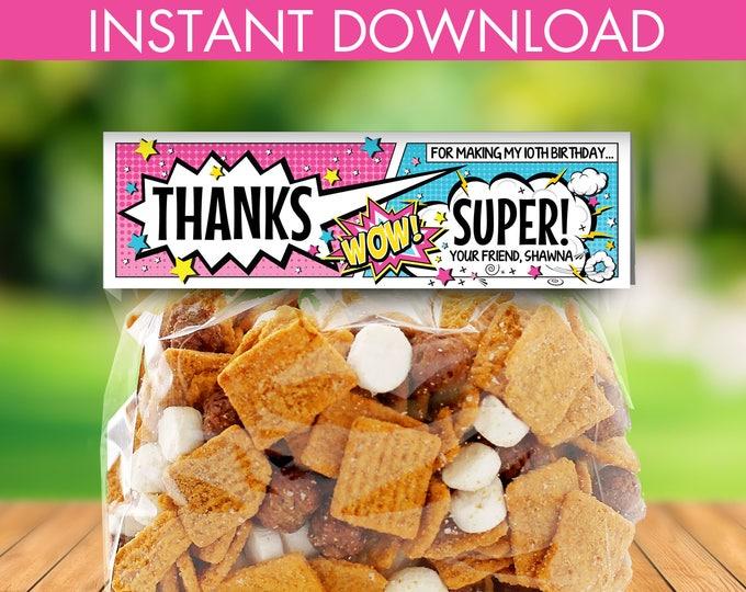 Superhero Treat Bag Topper -  Supergirl Birthday Party. Super Hero Favor Bag Topper   Editable Text- DIY Instant Download PDF Printable