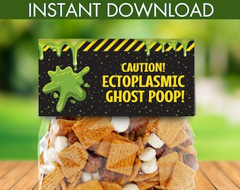 Ghostbuster Party Favor Bag Toppers - Treat Bag Toppers, Pre-Typed Treat Bag Topper | INSTANT Download Printable PDFs