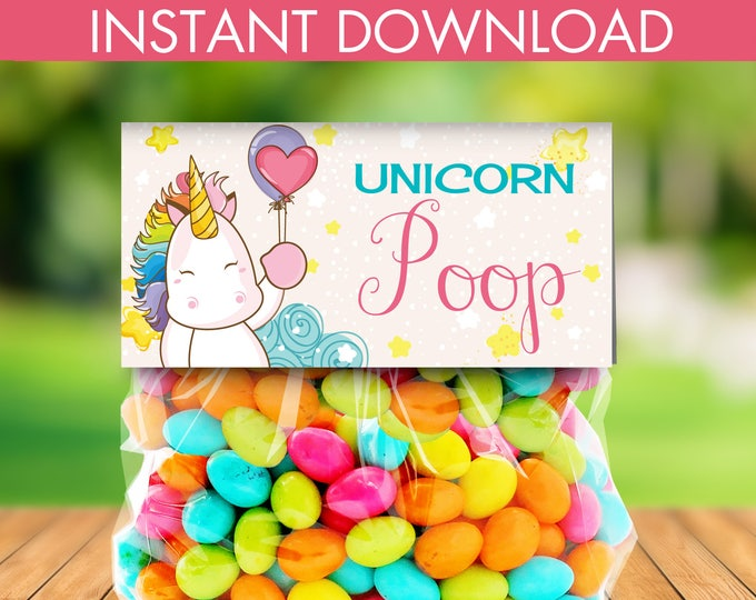 Unicorn Party Treat Bag Topper -Unicorn Birthday,Rainbow Birthday,Magical Party, Self-Editing | DIY Editable Text INSTANT DOWNLOAD Printable