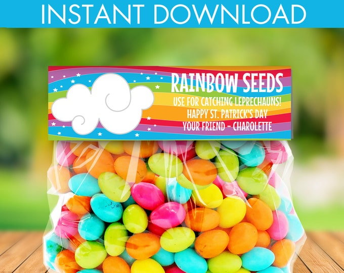St. Patrick's Day Treat Bag Topper - Rainbow Seeds, Leprechaun, Magical,Self-Editing | DIY Editable Text INSTANT DOWNLOAD Printable