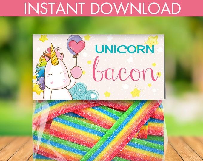 Unicorn Bacon Treat Bag Topper -Unicorn Birthday,Rainbow Birthday,Magical Party, Self-Editing | DIY Editable Text INSTANT DOWNLOAD Printable