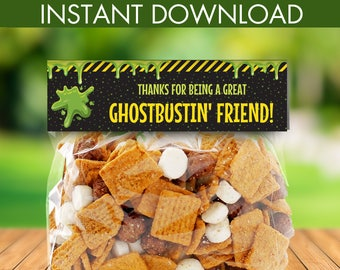 Ghostbuster Party Favor Bag Toppers - Treat Bag Toppers, Editable Text Treat Bag Topper | INSTANT Download Printable PDFs