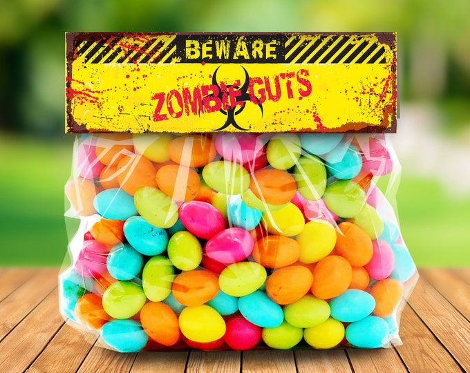 "Zombie Treat Bag Topper - Zombie Guts, Zombie Party, Halloween Party,Costume Party, 6.5"" Pre-Typed Topper 
