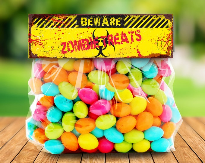 "Zombie Treat Bag Topper - Zombie Treats, Zombie Party, Halloween Party,Costume Party, 6.5"" Pre-Typed Topper 