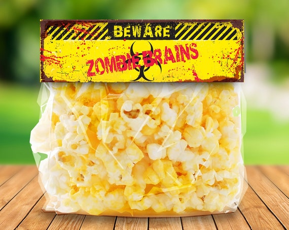 """Zombie Treat Bag Topper - Zombie Brains, Zombie Party, Halloween Party,Costume Party, 6.5"""" Pre-Typed Topper 