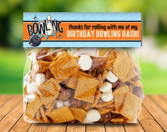 Bowling Party Favor Bag Toppers - Bowling Bash, Bowling Birthday, Orange | EDITABLE Size Bag Toppers - INSTANT Download Printable PDFs