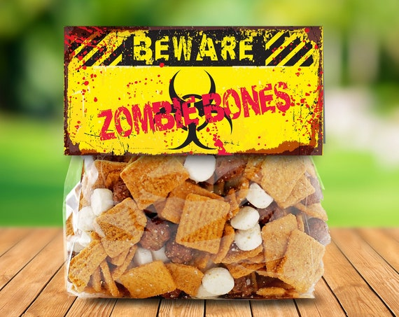 "Zombie Treat Bag Topper - Zombie Bones, Zombie Party, Halloween Party, Costume Party, 4"" Pre-Typed Topper 
