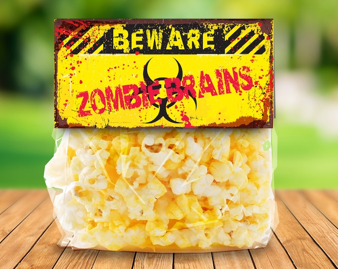 """Zombie Treat Bag Topper - Zombie Brains, Zombie Party, Halloween Party, Costume Party, 4"""" Pre-Typed Topper 
