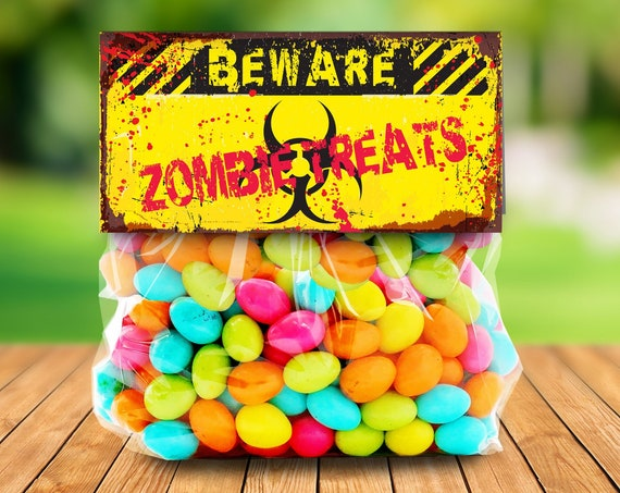 """Zombie Treat Bag Topper - Zombie Treats, Zombie Party, Halloween Party, Costume Party, 4"""" Pre-Typeds Topper 