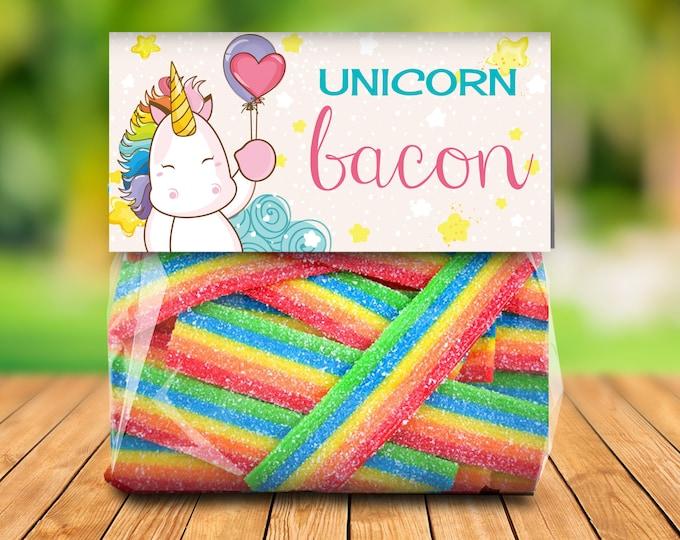 Unicorn Bacon Treat Bag Topper -Unicorn Birthday,Rainbow Birthday,Magical Party, Self-Editing   DIY Editable Text INSTANT DOWNLOAD Printable