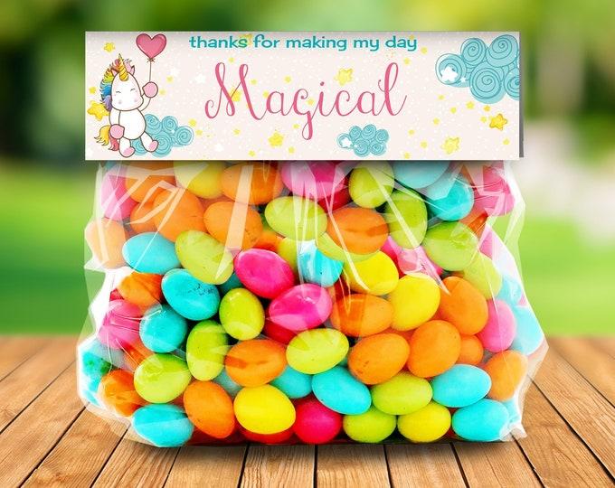 Unicorn Party Treat Bag Topper - Unicorn Birthday,Rainbow Birthday,Magical Party,Self-Editing   DIY Editable Text INSTANT DOWNLOAD Printable