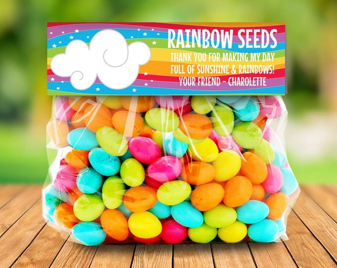 Rainbow Party Treat Bag Topper - Rainbow Seeds, Magical Party, Self-Editing | DIY Editable Text INSTANT DOWNLOAD Printable