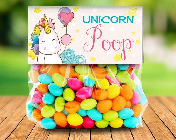 Unicorn Party Treat Bag Topper -Unicorn Birthday,Rainbow Birthday,Magical Party, Self-Editing | DIY Editable Text INSTANT DOWNLOAD Printable