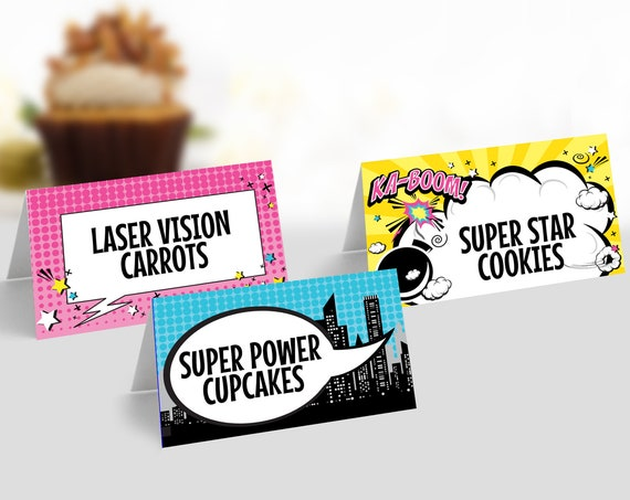 Supergirl Food Labels - Supergirl-Superhero Party, Table Tent, Place Card, Buffet Tags | Self-Edit with CORJL - INSTANT DOWNLOAD Printable