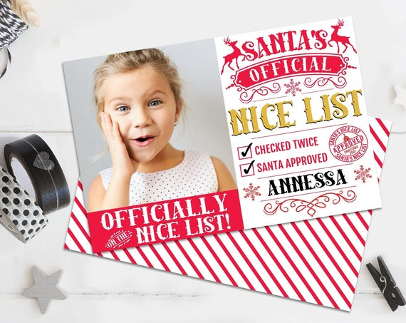 Santa's Nice List - Elf Report, Photo Cards, Santa's Official Nice List, Christmas Party   Self-Edit with CORJL - INSTANT Download Printable
