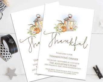 Thankful Thanksgiving Dinner Invitation, Lantern & Pumpkin Invite, Dinner Invite    Self-Editing with CORJL - INSTANT DOWNLOAD Printable