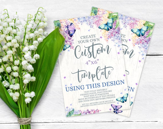 Butterfly 4x6 Custom TEMPLATE-Sign - Butterflies & Flowers, Spring Garden,Personalized | Self-Edit with CORJL - INSTANT Download Printable