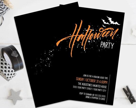Halloween Party Invitation - Halloween Bats invite, Bats Invitation    Self-Editing with CORJL - INSTANT DOWNLOAD Printable