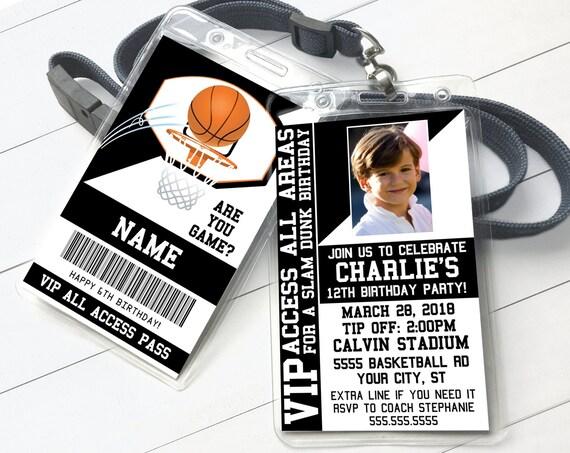 Basketball VIP ID Badge Invitation - Basketball Invite Badge, All Star Badge | Self-Edit with CORJL - Instant Download Printable Template