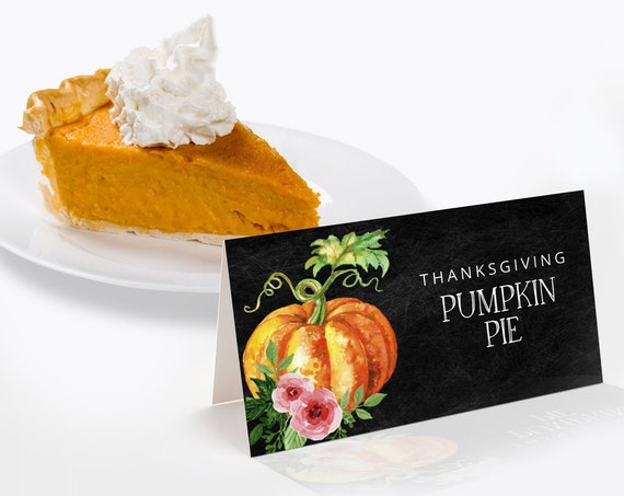 Pumpkin Thanksgiving Dinner Food Labels,Place Cards,Table Tent    Self-Editing with CORJL - INSTANT DOWNLOAD Printable