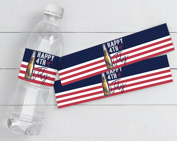 4th of July Water Bottle Labels/Wrap, Red White & Brew,Patriotic,BBQ Picnic Cookout | Pre-Typed - INSTANT Download Printable Template