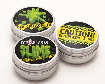 """Ghost-busters Slime 2.5""""-3"""" Jar Sticker Labels includes 3 Versions, Ghost-buster Party, Slime Party 