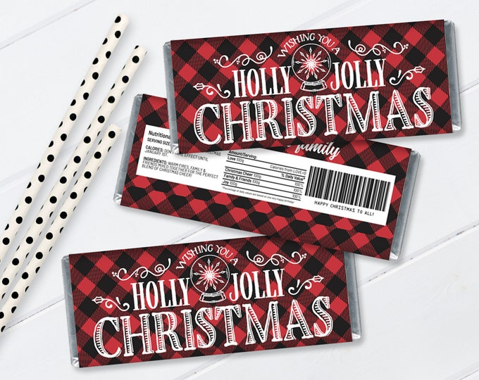 Holly Jolly Christmas Candy Bar Label/Wrapper, Christmas Party, Candy Bar Party Favor | Self-Editing with CORJL - INSTANT Download Printable