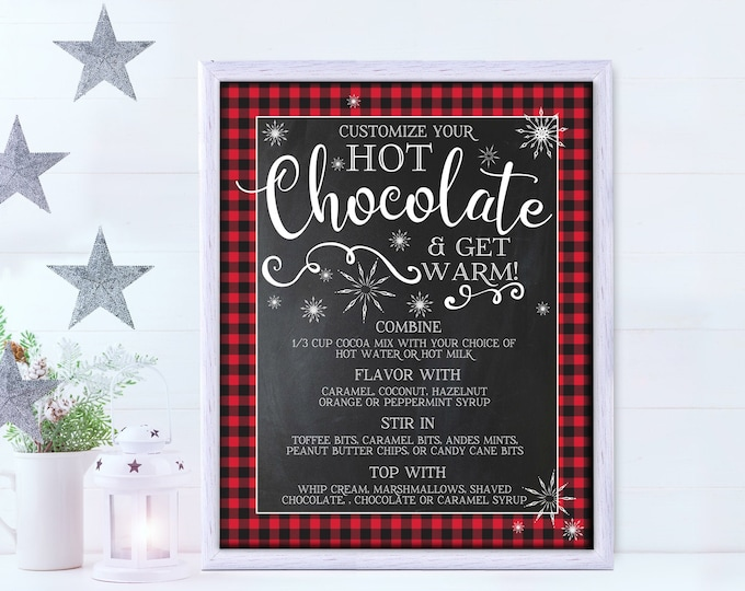"""Hot Chocolate 16""""x20"""" Menu Party Sign - Hot Coco Bar, Hot Chocolate Party, Holiday Party 